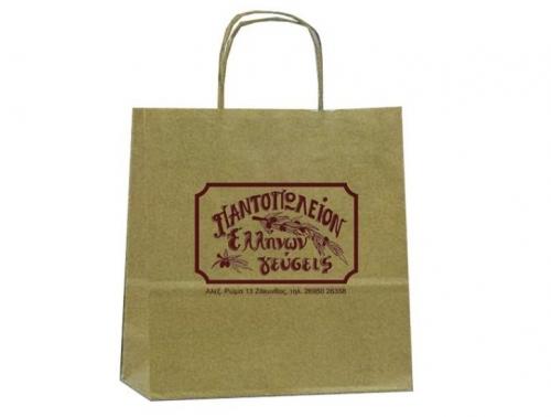 Χάρτινες Τσάντες καφέ κραφτ, με στριφτό χερούλι 27110