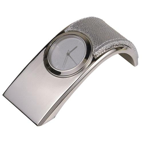 Επιτραπέζιο ρολόι με απομίμηση δέρματος φιδιού 3008-M