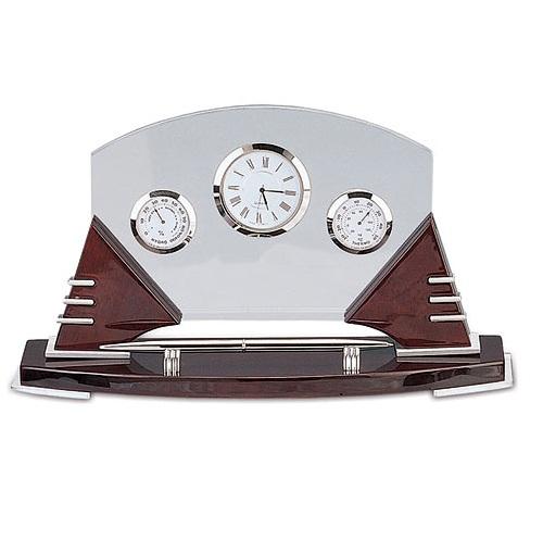 Επιτραπέζιο Ξύλινο ρολόι, με υγρόμετρο, θερμόμετρο & στυλό. 8128