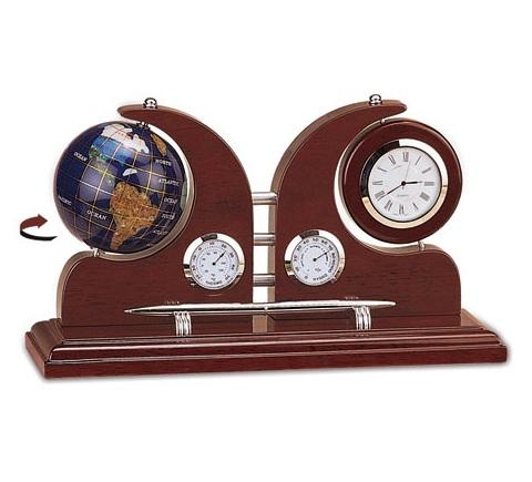 Επιτραπέζιο ρολόι Σετ Γραφείου Ξύλο Μέταλλο, με υδρόγειο σφαίρα