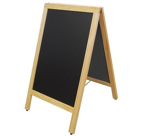 Πίνακας μενού 2 όψεων μαύρος με ξύλινη κορνίζα. Πτυσσόμενος. 169