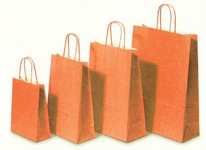 Χάρτινη τσάντα πορτοκαλί με στριφτό χερούλι. 31705