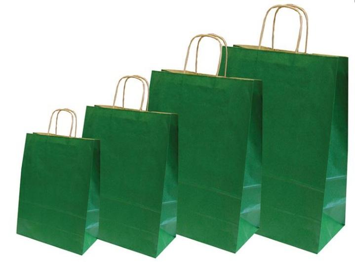 Χάρτινη τσάντα πράσινη με στριφτό χερούλι. 31707