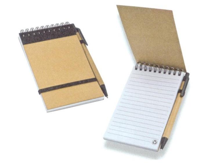 Σημειωματάριο σπιράλ μίνι με στυλό και λάστιχο οικολογικό. 22255
