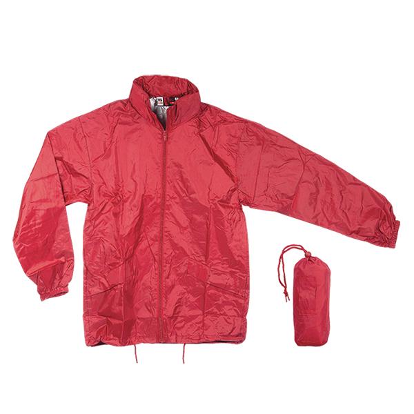Αντιανεμικό αδιάβροχο μπουφάν, με κουκούλα. 2836-M-red