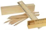 Ξυλομπογιές με 8 χρώματα και χάρακας σε ξύλινη κασετίνα. 21008