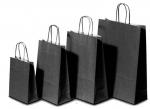 Χάρτινη τσάντα μαύρη με στριφτό χερούλι 31706