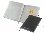 Σημειωματάριο Α4 ραφτό μαύρο με λάστιχο, 80 σελίδες 22210
