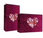 Χάρτινη τσάντα Ροζ καρδία με κορδέλα. 23375