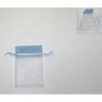 Πουγκί οργάντζα με λινάτσα μπλε 13x10εκ. 24768-03