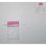 Πουγκί οργάντζα με λινάτσα ροζ 13x10εκ. 24768-12