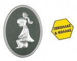 Πινακίδα σήμανσης wc γυναικών, ασημί, οβάλ. 18764