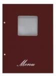 Μενού εστιατορίων Α4 basic μπορντό με παράθυρο. 11252-04