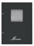 Μενού εστιατορίων Α4 basic μαύρο με παράθυρο. 11252-09